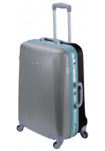 Valise ASHOKA rigide moyenne taille 59 cm gris-turquoise-noir